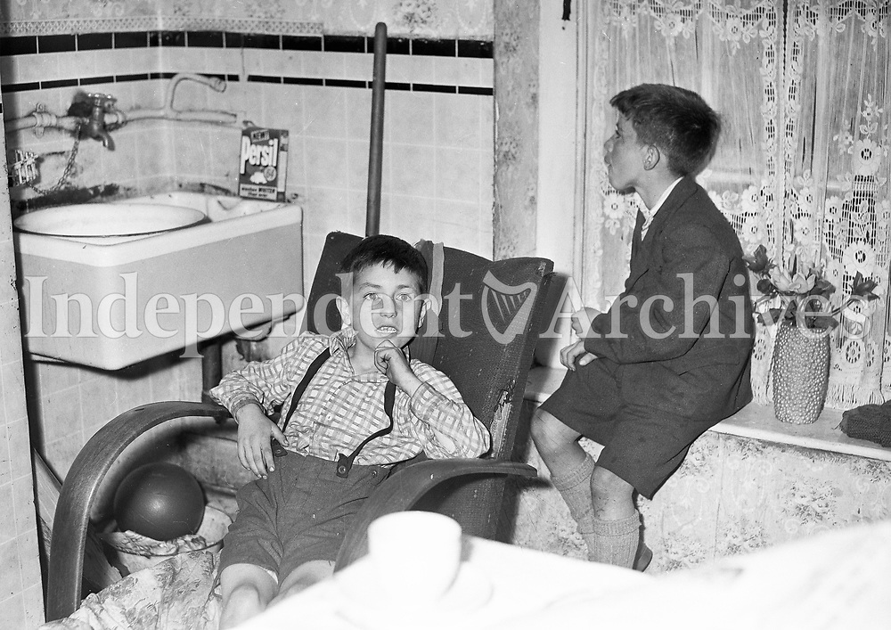 12 year old Michael from Sheriff Street, Dublin who had to be rescued from the ledge of a high building by Dublin Fire Brigade while searching for pigeons. Pictured with his brother Anthony. August 13 1964.<br /> (Part of the Independent Ireland Newspapers/NLI Collection)