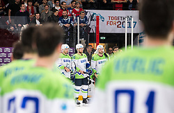 Best Slovenian players at the tournament: Ales Kranjc of Slovenia, Robert Sabolic of Slovenia and Jan Mursak of Slovenia after the 2017 IIHF Men's World Championship group B Ice hockey match between National Teams of France and Slovenia, on May 15, 2017 in AccorHotels Arena in Paris, France. Photo by Vid Ponikvar / Sportida