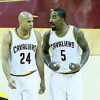 08 June 2016: Cleveland Cavaliers guard J.R. Smith (5) talks to Cleveland Cavaliers forward Richard Jefferson (24) during the Cleveland Cavaliers 120-90 victory over the Golden State Warriors, during Game Three of the 2016 NBA Finals at the Quicken Loans Arena, Cleveland, Ohio, USA.