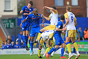 Corner action Calvin Andrew, Ryan Delaney during the EFL Sky Bet League 1 match between Rochdale and Gillingham at Spotland, Rochdale, England on 15 September 2018.