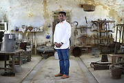 Rohan Fernandopulle, Chef in charge of official receptions in Sri Lanka, poses for a portrait in the Cascina Colombara during the annual meeting of the Club des Chefs des Chefs in Livorno Ferraris, Vercelli, Italy, July 18, 2015.<br /> The Club des Chefs des Chefs, which is seen as the world's most exclusive gastronomic society, has extremely strict membership criteria: to be accepted into this highly elite club, you need to be the current personal chef of a head of state. If he or she does not have a personal chef, members can be the executive chef of the venue that hosts official State receptions. One of the society's primary purposes is to promote major culinary traditions and to protect the origins of each national cuisine. The Club des Chefs des Chefs also aims to develop friendship and cooperation between its members, who have similar responsibilities in their respective countries. <br /> The annual meeting of the Club has been hosted this year in the production site of the Italian rice company called Riso Acquerello. <br /> © Giorgio Perottino