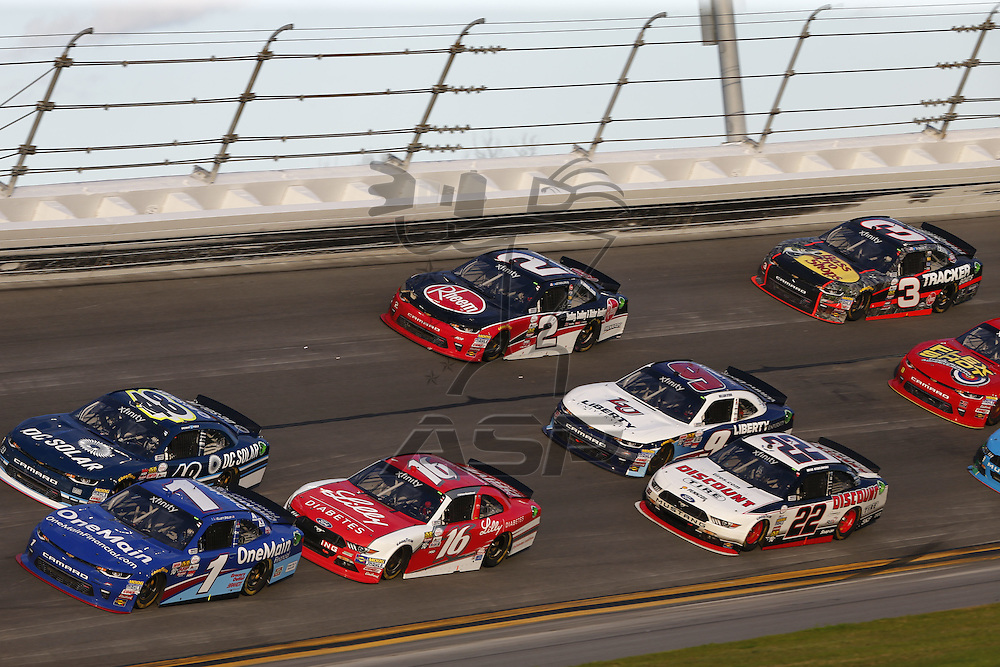 February 25, 2017 - Daytona Beach, Florida, USA: The NASCAR Xfinity Series teams take to the track for the PowerShares QQQ 300 at Daytona International Speedway in Daytona Beach, Florida.