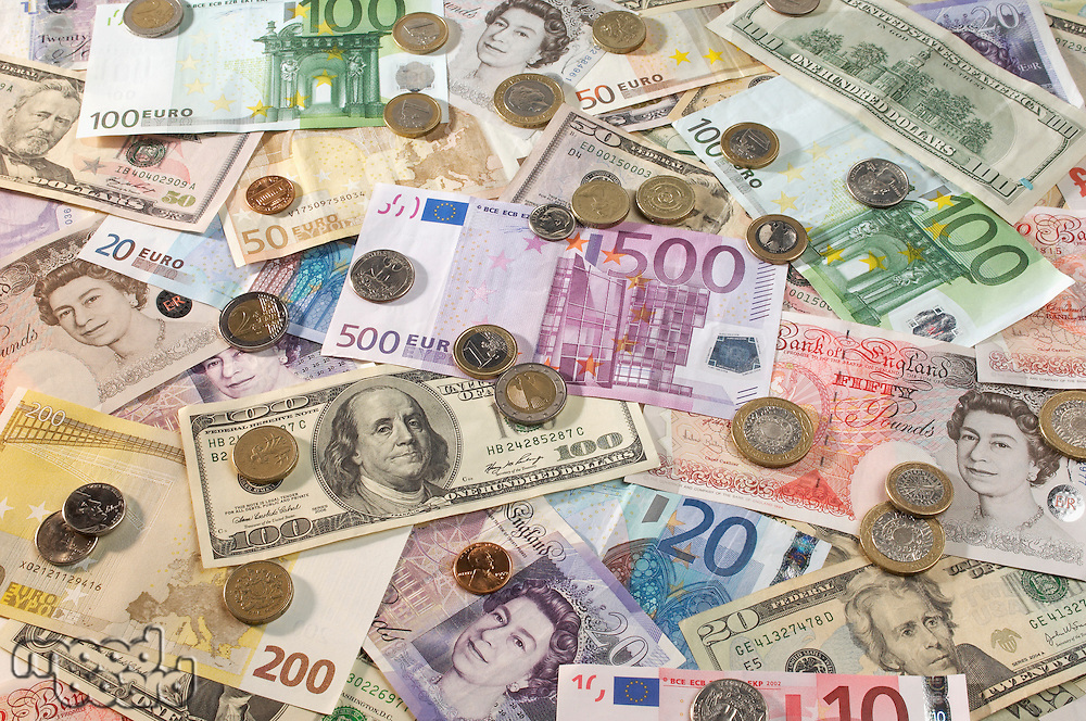 American, British and Euro paper currency