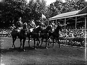 05/08/1960<br /> 05/08/1960<br /> 05 August 1960<br /> R.D.S Horse Show Dublin (Friday). Aga Khan Trophy. The  Argentine team (l-r):  Lieut-Col. Carlos Deila on &quot;Huipil&quot;; Jorge Lucardi on &quot;Stromboli&quot;; Lieut. Naldo Dasso on &quot;Final&quot; and Ernesto Hartkopf on &quot;Baltasar&quot;.
