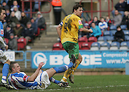 Huddersfield - Saturday, March 13th, 2010: Grant Holt of Norwich City scores against Huddersfield Town during the Coca Cola League One match at the Galpharm Stadium, Huddersfield. (Pic by Michael Sedgwick/Focus Images)