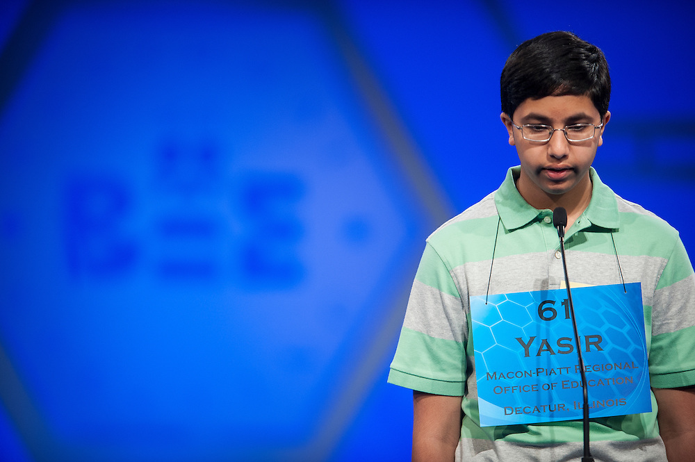 Yasir Hasnain, 13, of Forsyth, Illinois, participates in round two of the preliminaries of the Scripps National Spelling Bee on May 28, 2014 at the Gaylord National Resort and Convention Center in National Harbor, Maryland.