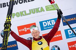 Winner Johannes Thingnes Boe (NOR) during flower ceremony after the Pursuit Men 12,5 km at day 8 of IBU Biathlon World Cup 2018/19 Pokljuka, on December 9, 2018 in Rudno polje, Pokljuka, Pokljuka, Slovenia. Photo by Urban Urbanc / Sportida