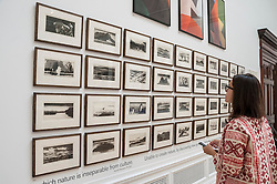 "© Licensed to London News Pictures. 03/06/2015. Piccadilly, London, UK. A visitor looks at ""Galapagos"" by Norman Ackroyd RA, at the press preview of the Summer Exhibition at the Royal Academy of Arts.  Held annually since 1769, the event has become the largest open submission exhibition in the world, displaying works in a variety of mediums and genres by emerging and established contemporary artists.  From over 12,000 entries, works are selected and hung by Royal Academicians. Photo credit : Stephen Chung/LNP"