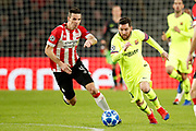 PSV player Nick Viergever (l) and Barcelona player Lionel Messi (r) during the UEFA Champions League, Group B football match between PSV Eindhoven and FC Barcelona on November 28, 2018 at Philips Stadium in Eindhoven, Netherlands - Photo Joep Leenen / Pro Shots / ProSportsImages / DPPI
