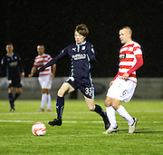 Dundee's Craig Wighton goes past Hamilton's Grant Gillespie -  Hamilton Academical v Dundee, SPFL Premiership at New Douglas Park<br /> <br />  - &copy; David Young - www.davidyoungphoto.co.uk - email: davidyoungphoto@gmail.com