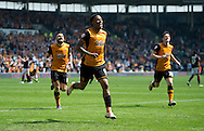 Abel Hernandez of Hull City (centre) celebrates after scoring his team's 2nd goal to make it 2-1 during the Sky Bet Championship match at KC Stadium, Hull<br /> Picture by Russell Hart/Focus Images Ltd 07791 688 420<br /> 07/05/2016