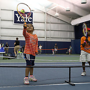 August 16, 2014, New Haven, CT:<br /> Kids participate in a tennis clinic during Kids Day on day three of the 2014 Connecticut Open at the Yale University Tennis Center in New Haven, Connecticut Sunday, August 17, 2014.<br /> (Photo by Billie Weiss/Connecticut Open)