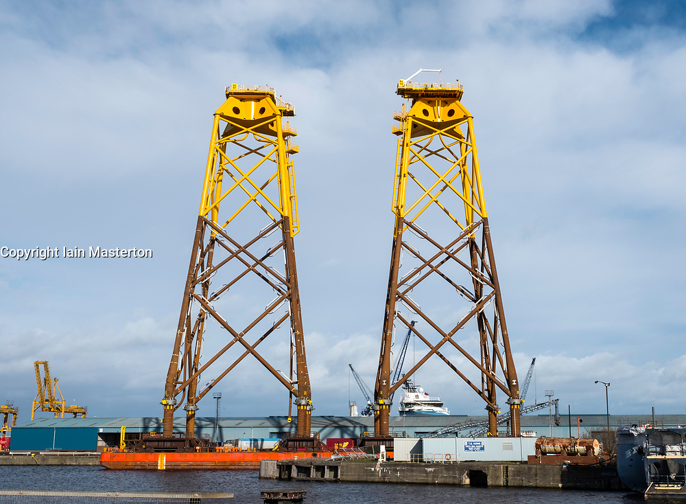 Large sub-sea platforms await delivery to Beatrice offshore wind farm in the North Sea.  They were fabricated by Bifab, Burntisland Fabrications Ltd from Fife .