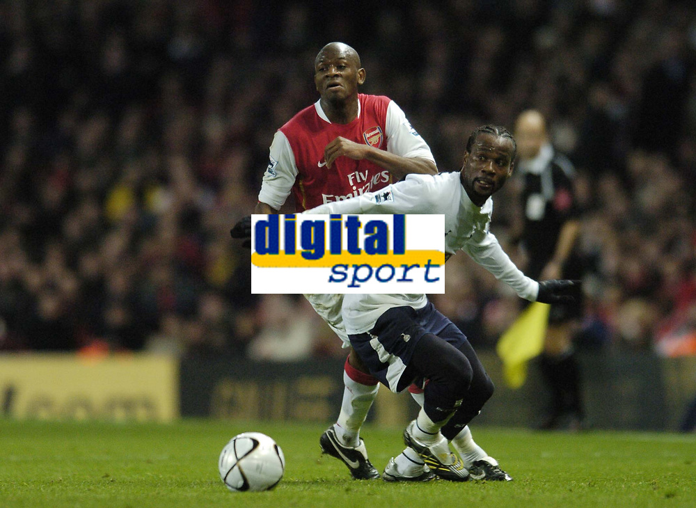 Photo: Olly Greenwood.<br />Arsenal v Tottenham Hotspur. Carling Cup Semi Final 2nd leg 31/01/2007. Spurs Pascal Chimbonda and Arsenal's Abou Diaby