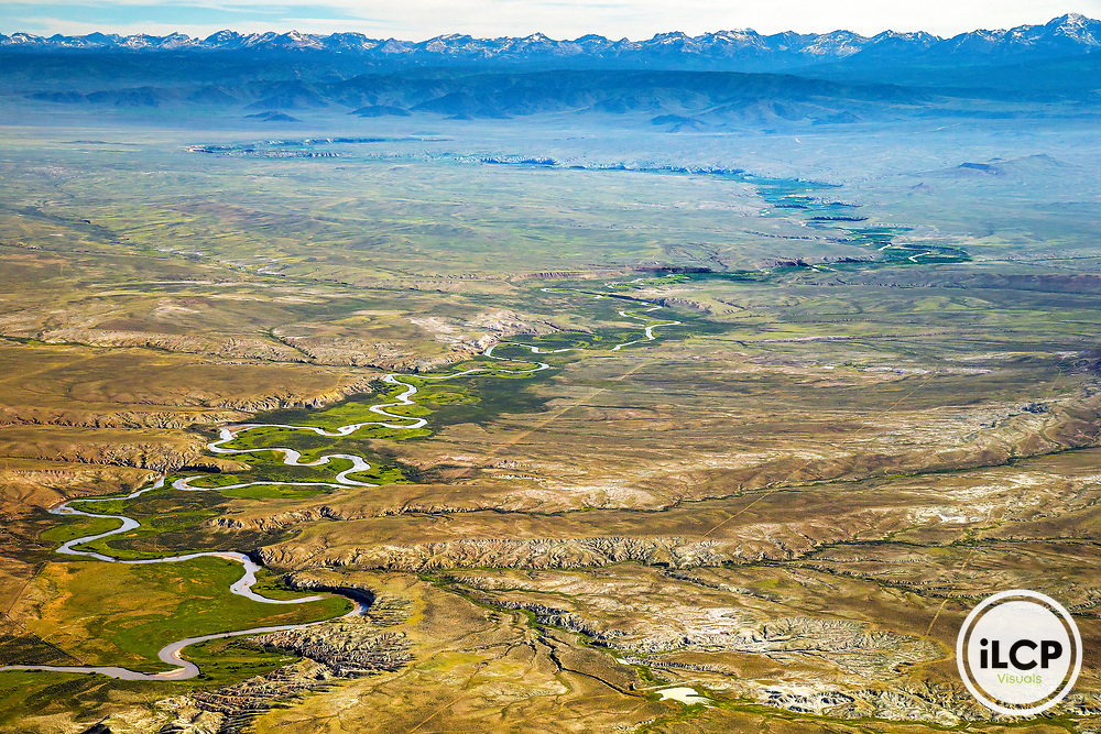 Big Sandy River in Sublette County in Wyoming from aerial perspective. This area is one of the richest population of prong horn and greater sage-grouse in Wyoming.