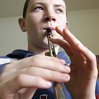 Kaven O' Donoghue enjoyed the tin whistle workshop during the Cooley-Collins traditional music festival in Gort at the weekend.<br />