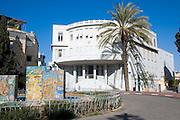 The fountain and square in front of the Old, original Tel Aviv city hall building, the Skora building from 1925 in Bialik street, Tel Aviv. The fountain was built by Nahum Gutman, with mosaic scenes from the history and establishment of Tel Aviv-Jaffa and the state of Israel
