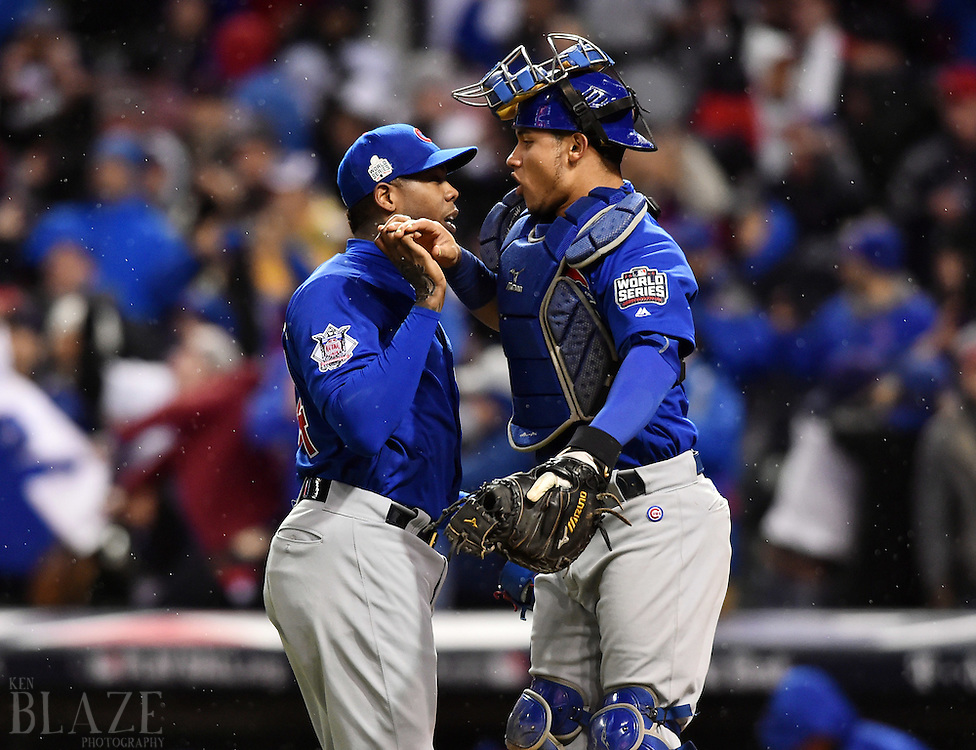 Oct 26, 2016; Cleveland, OH, USA; Chicago Cubs relief pitcher Aroldis Chapman (54) celebrates with catcher Willson Contreras (40) after defeating the Cleveland Indians in game two of the 2016 World Series at Progressive Field. Mandatory Credit: Ken Blaze-USA TODAY Sports