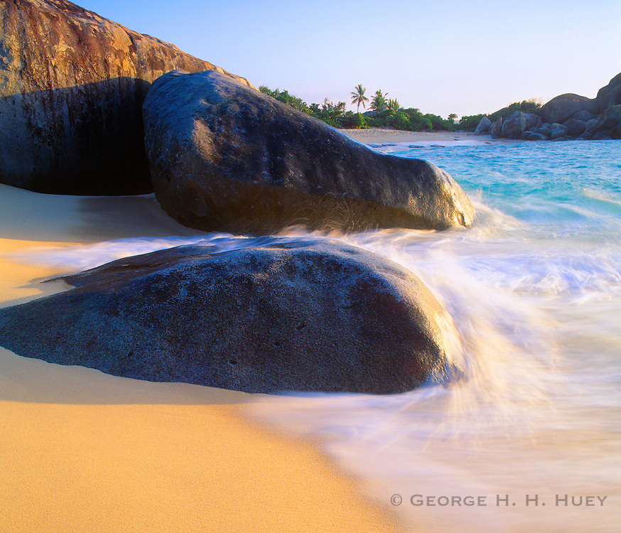 6202-1026NF ~ Copyright: George H. H. Huey ~ Granite boulders form The Baths at sunset. Virgin Gorda Island. British Virgin Islands. Caribbean.