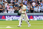 Wicket - David Warner of Australia looks dejected as he walks back to the pavilion after being dismissed by Jofra Archer of England during the International Test Match 2019 match between England and Australia at Lord's Cricket Ground, St John's Wood, United Kingdom on 18 August 2019.