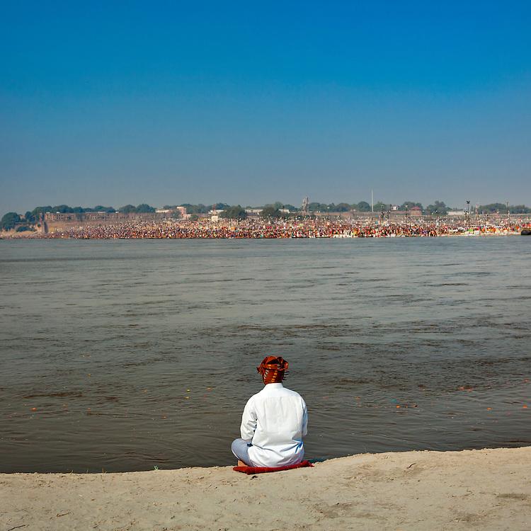 Pilgrim at Maha Kumbh Mela festival, world's largest congregation of religious pilgrims. Allahabad, India.