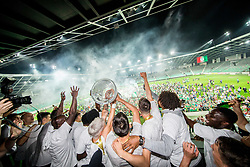 Players of Olimpija celebrate with a trophy after winning during football match between NK Aluminij and NK Olimpija Ljubljana in the Final of Slovenian Football Cup 2017/18, on May 30, 2018 in SRC Stozice, Ljubljana, Slovenia. Photo by Vid Ponikvar / Sportida
