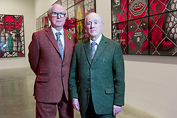 © Licensed to London News Pictures. 21/11/2017. London, UK. Artists GEORGE PASSMORE and GILBERT PROUSCH otherwise known as GILBERT and GEORGE attend their exhibition 'The Beard Pictures and Their Fuckosophy showing at the White Cube gallery. Photo credit: Ray Tang/LNP
