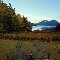 Jordan Pond, Acadia N.P., ME. New England  Adirondack chairs at Jordan Pond in Maine's Acadia National Park.