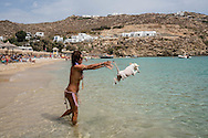 Super Paradise Beach, Mykonos, Cyclades Islands, Greece / Playa Super Paradise, Míkonos, Islas Cíclades, Grecia