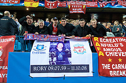 MADRID, SPAIN - Wednesday, October 22, 2008: Liverpool supporters and a banner during the UEFA Champions League Group D match against Club Atletico de Madrid at the Vicente Calderon. (Photo by David Rawcliffe/Propaganda)