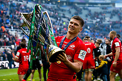 Owen Farrell of Saracens celebrates winning the Heineken Champions Cup after beating Leinster Rugby in the Final - Mandatory by-line: Robbie Stephenson/JMP - 11/05/2019 - RUGBY - St James' Park - Newcastle, England - Leinster Rugby v Saracens - Heineken Champions Cup Final