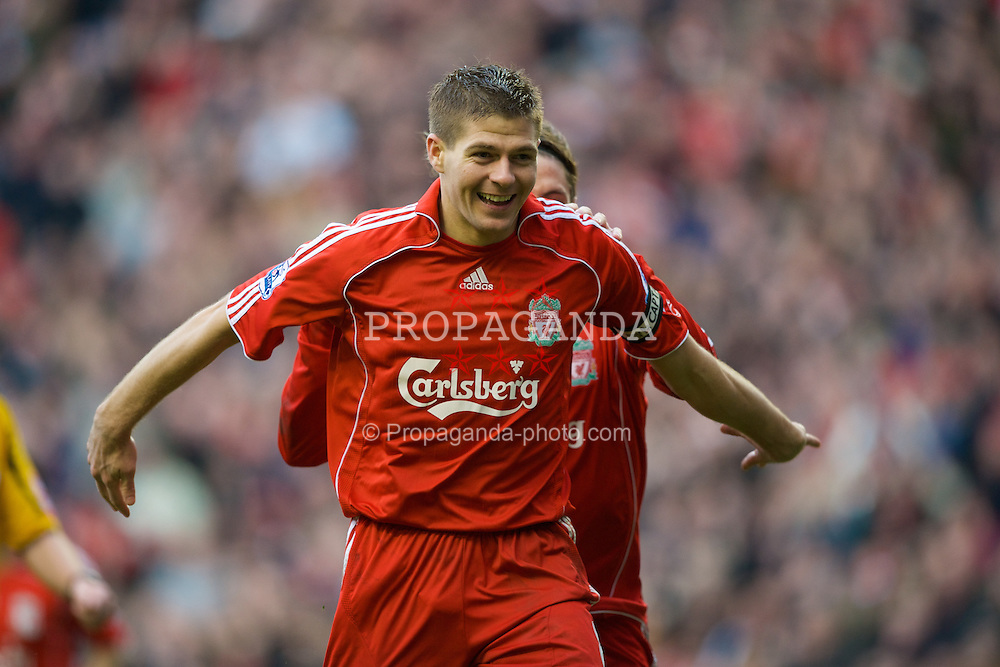 LIVERPOOL, ENGLAND - Saturday, March 8, 2008: Liverpool's captain Steven Gerrard MBE celebrates scoring Liverpool's third goal during the Premiership match against Newcastle United at Anfield. (Photo by David Rawcliffe/Propaganda)