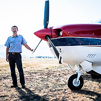 Pilot Justin Honaker, pictured with the Cessna plane he flies for the Mission Aviation Fellowship air service in Lesotho, Africa.