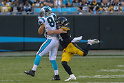 Pittsburgh Steelers inside linebacker Tyler Matakevich (44) tackles Carolina Panthers tight end Jason Vander Laan (84)during a NFL football game, Thursday, Aug. 29, 2019, in Charlotte, N.C. The Panthers defeated the Steelers 25-19.  (Brian Villanueva/Image of Sport)