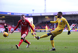 Nicky Devlin of Walsall trys to block a shot from Tareiq Holmes-Dennis of Bristol Rovers- Mandatory by-line: Nizaam Jones/JMP - 26/12/2018 - FOOTBALL - Banks's Stadium - Walsall, England- Walsall v Bristol Rovers - Sky Bet League One