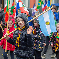 Rhys Tobin marching with the Tulla Scouts Group in the  St Patrick's Day Parade in Tulla