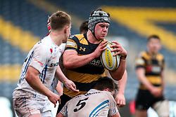 Alfie Barbeary of Wasps U18 is tackled by Lewis Pearson of Exeter Chiefs U18 - Rogan Thomson/JMP - 16/02/2017 - RUGBY UNION - Sixways Stadium - Worcester, England - Wasps U18 v Exeter Chiefs U18 - Premiership Rugby Under 18 Academy Finals Day 3rd Place Play-Off.