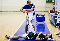 Martin Klesnik, physiotherapist with Gasper Vidmar of Slovenia  during practice session of Slovenian National team 1 day prior to the basketball match between National Teams of Slovenia and Ukraine in Round of 16 of the FIBA EuroBasket 2017, at Ahmet Cömert Sports Hall in Istanbul, Turkey on September 8, 2017. Photo by Vid Ponikvar / Sportida