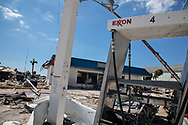 Hurricane Michael damaged Exxon gas station in Mexico Beach, Flroida