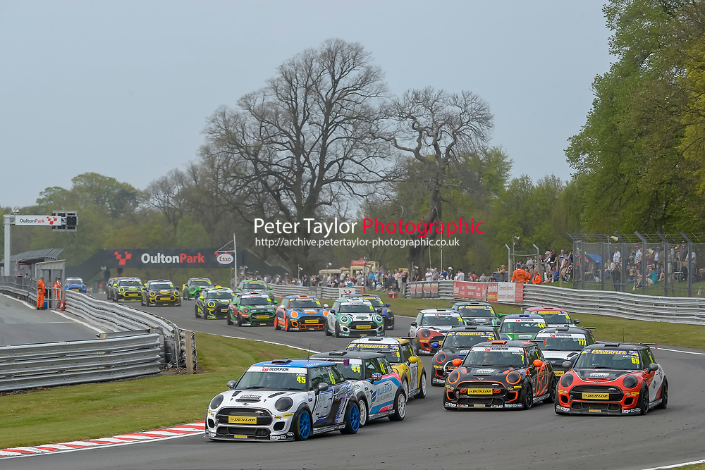 #45 Calum KING MINI JCW during Mini Challenge - JCW Class - Rounds 1 & 2  as part of the British F3 / GT Championship meeting at Oulton Park, Little Budworth, Cheshire, United Kingdom. April 22 2019. World Copyright Peter Taylor/PSP. Copy of publication required for printed pictures.