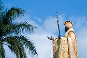 King Kamehameha Statue with long lei on Kamehameha Day in Hawaii.