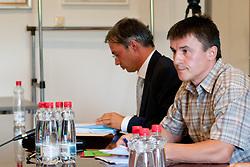 Janez Sodrznik in Marko Pogacnik na skupscini Hokejske zveze Slovenije, on September 7, 2011, in Ljubljana, Slovenia. (Photo by Matic Klansek Velej / Sportida)