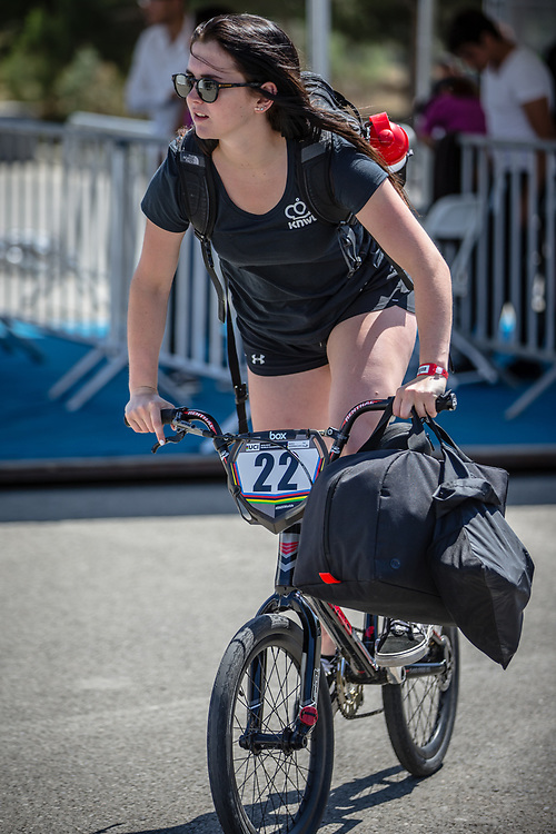 Women Elite #22 (SMULDERS Merel) NED arriving on race day at the 2018 UCI BMX World Championships in Baku, Azerbaijan.