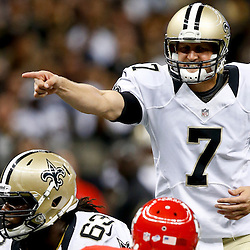 Aug 9, 2013; New Orleans, LA, USA; New Orleans Saints quarterback Luke McCown (7) calls signals from the line during the second half of a preseason game against the Kansas City Chiefs at the Mercedes-Benz Superdome. The Saints defeated the Chiefs 17-13. Mandatory Credit: Derick E. Hingle-USA TODAY Sports