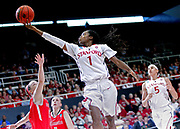 Stanford Cardinal guard Lili Thompson (1) takes a shot over Cal State Northridge Matadors guard Katelin King (55) during the first half of a women's college basketball game in the first round of the NCAA tournament at Maples Pavilion, Saturday, March 21, 2015, in Stanford, Calif.