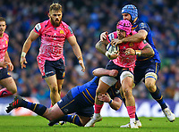 Rugby Union - 2017 / 2018 European Rugby Champions Cup - Pool Three: Leinster vs. Exeter Chiefs<br /> <br /> Exeter's Jack Nowell is tackled by Leinster's Scott Fardy and Tadhg Furlong, at Aviva Stadium, Dublin.<br /> <br /> COLORSPORT/KEN SUTTON