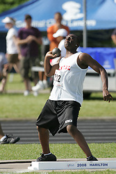 London, Ontario ---07/06/08--- Nicholas Smith of Brebeuf in Willowdale competes in the Shot put at the 2008 OFSAA Track and Field meet in Hamilton, Ontario..Sean Burges