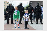 Helsinki derby between HJK and HIFK was shadowed by heavy security concerns. Police was strongly present at the front of the stadium before the match. Helsinki, August 10, 2016.