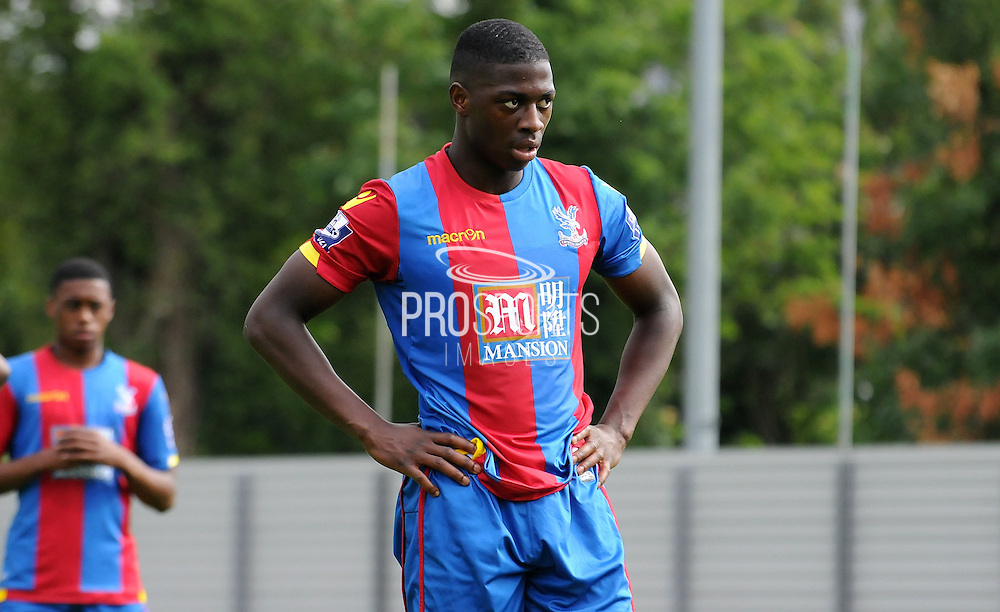 Sullay KaiKair readies himself to take his penalty during the U21 Professional Development League match between U21 Crystal Palace and U21 Bolton Wanderers at Selhurst Park, London, England on 17 August 2015. Photo by Michael Hulf.