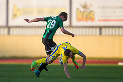 Jaka Bijol of NK Rudar and Amadej Vetrih of NK Domzale during football match between NK Domzale and NK Rudar in Round #28 of Prva liga Telekom Slovenije 2017/18, on April 22, 2018 in Sports Park Domzale, Domzale, Slovenia. Photo by Urban Urbanc / Sportida